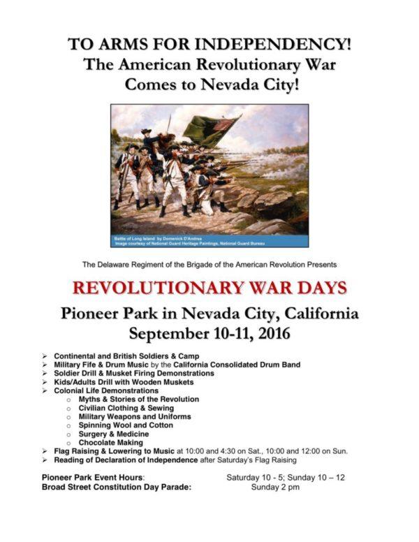 Delaware Revolutionary War Days nevada city 2016 flyer letter size