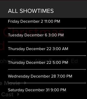 december 2016 showtimes