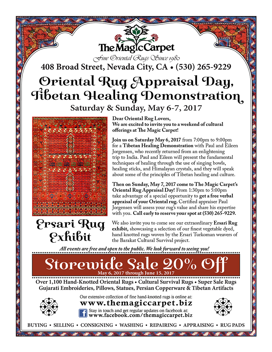 We Hope You Can Join Us At The Magic Carpet 408 Broad St., Nevada City, And  Online At Www.themagiccarpet.biz.