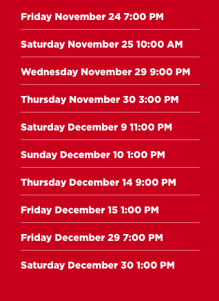 christmas card showtimes 2017