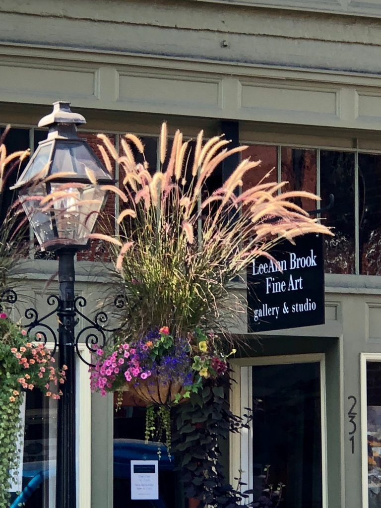 broad street scene with flower pot